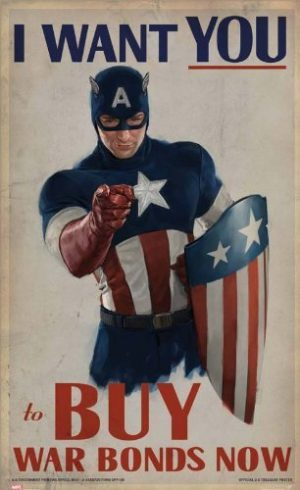 Captain America Vintage War Bonds Poster